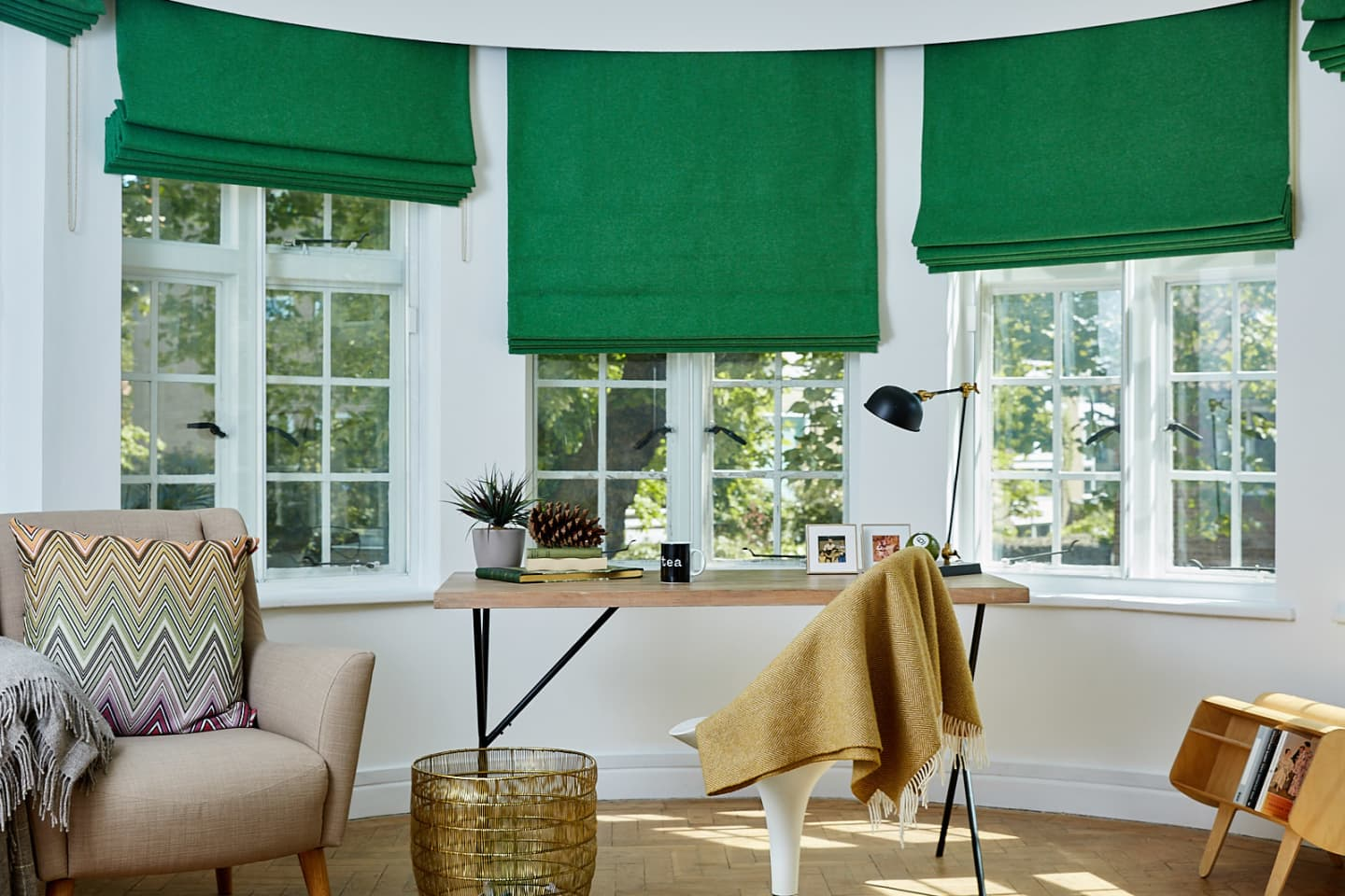 Study room with green blackout woollen roman blinds