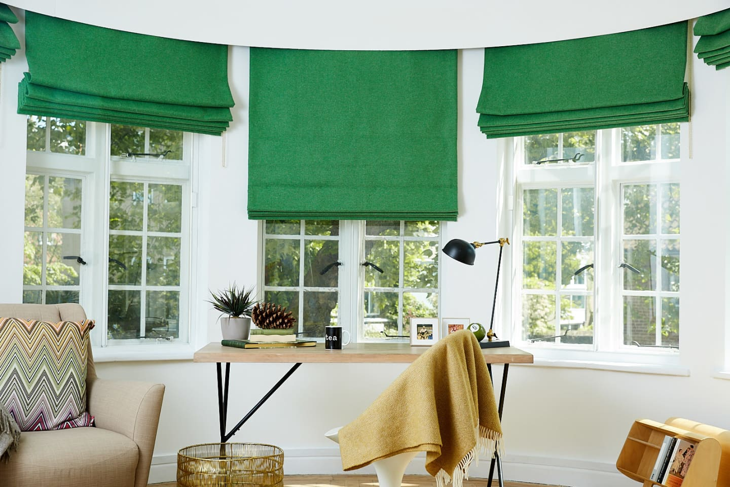 Study room with green woollen roman blinds