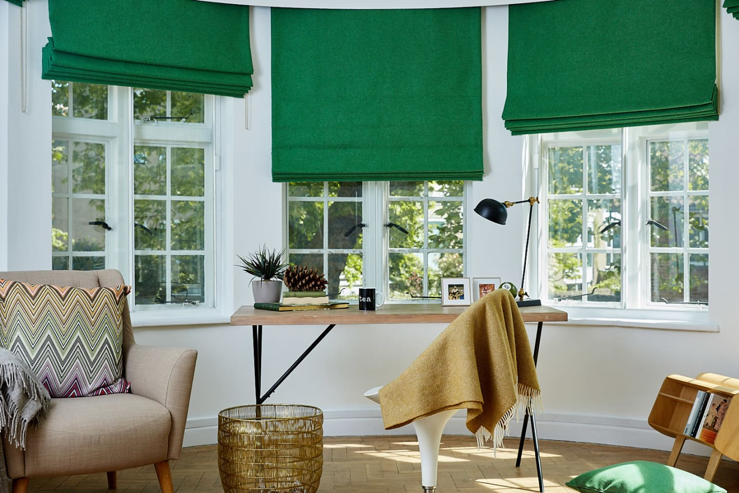 Study room with green wool blackout roman blinds