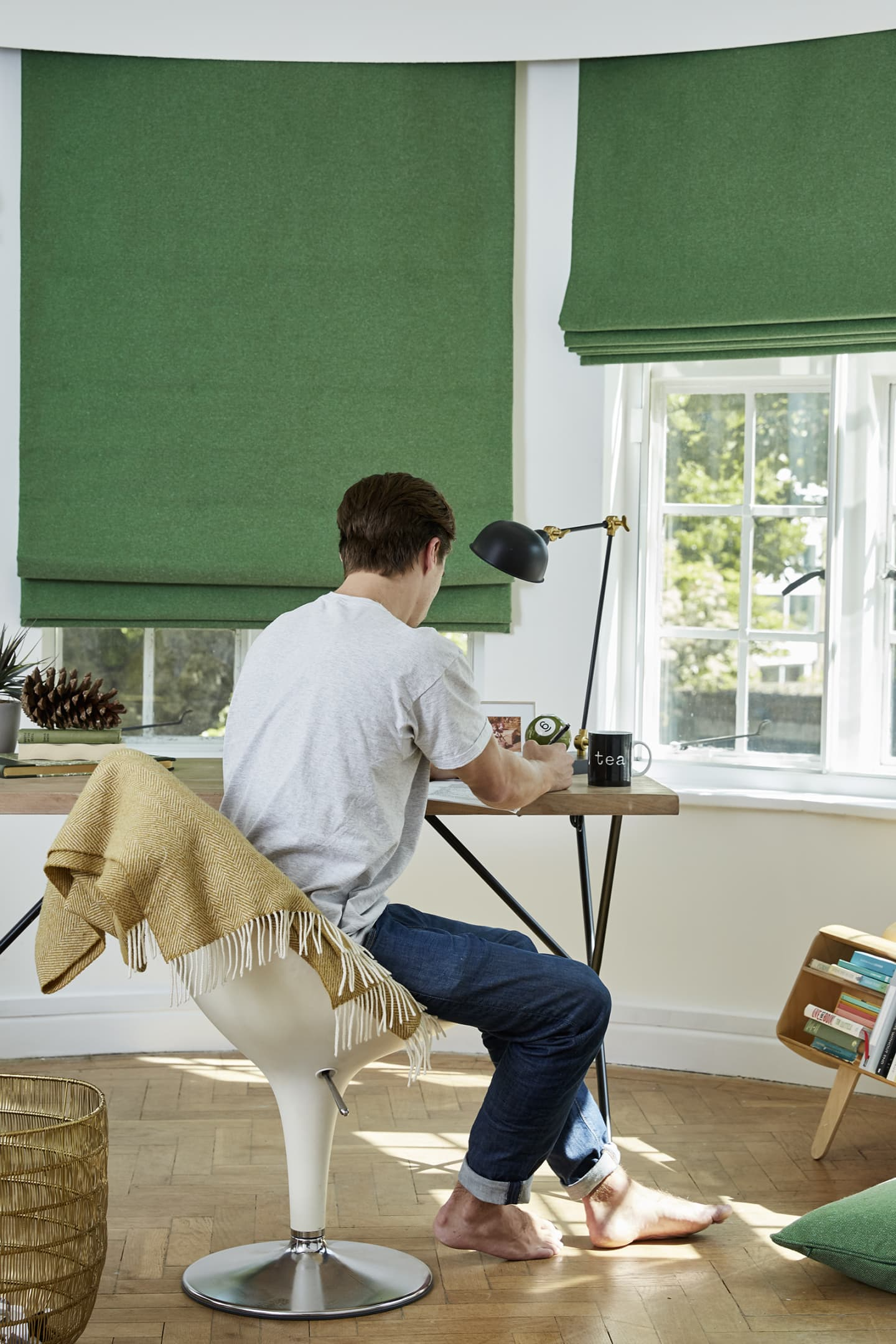Study room with green wool blinds