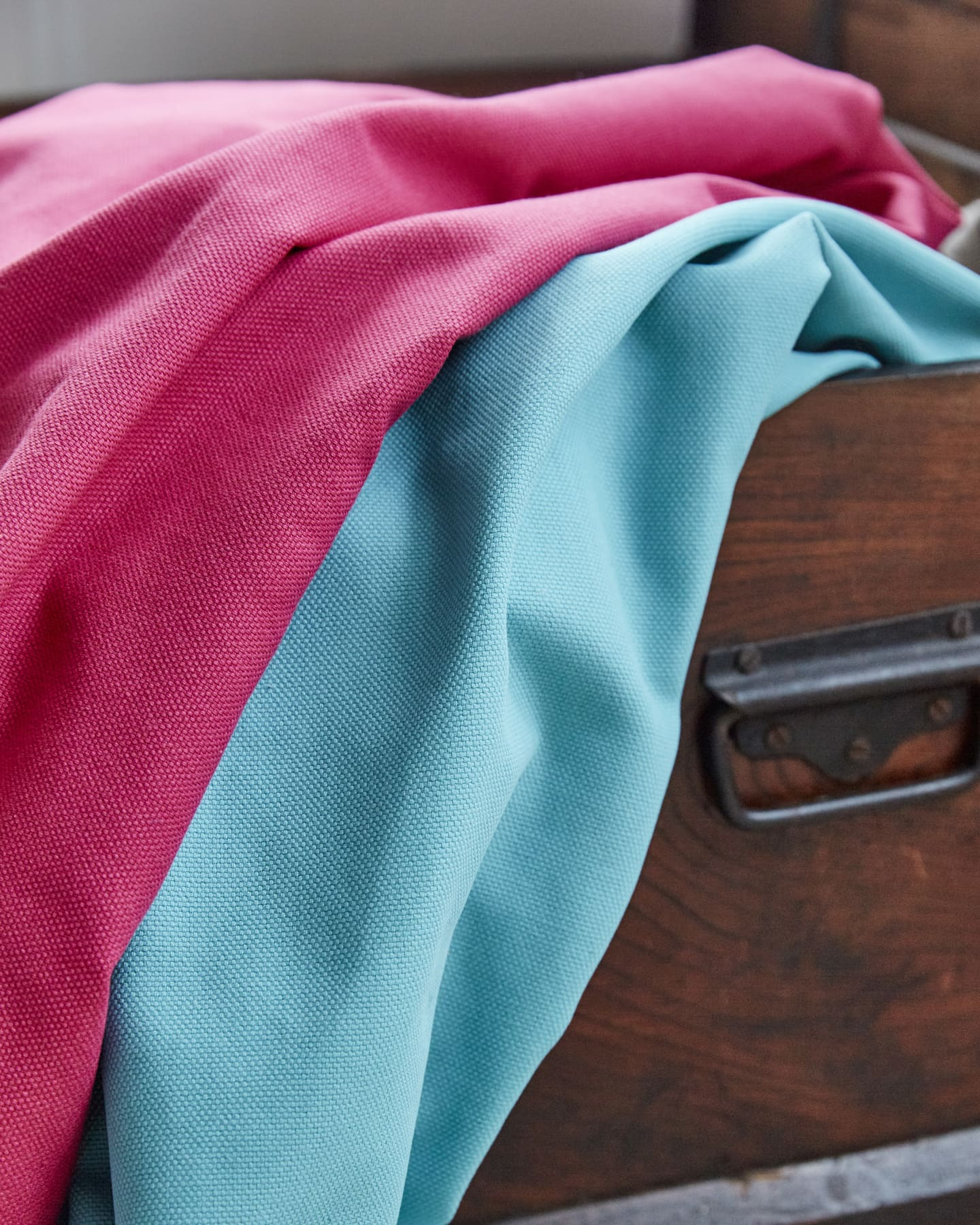 Bright pink and blue bits of fabric