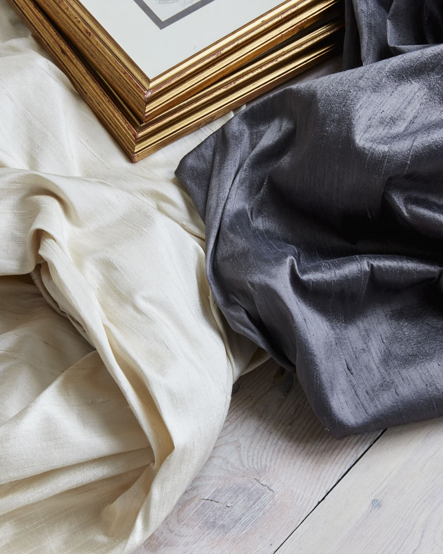cream and dark grey silk curtains