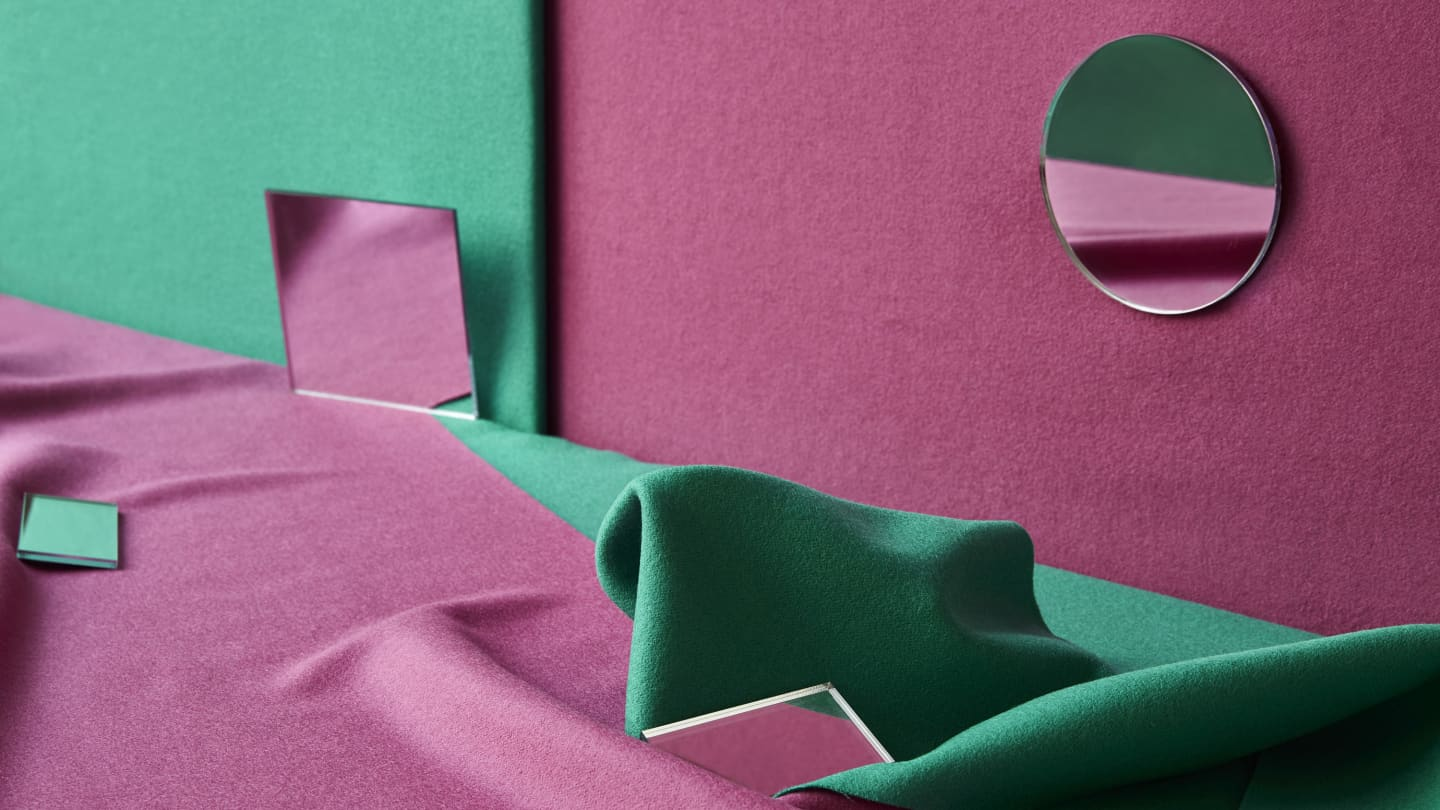 Green and pink Wool fabrics
