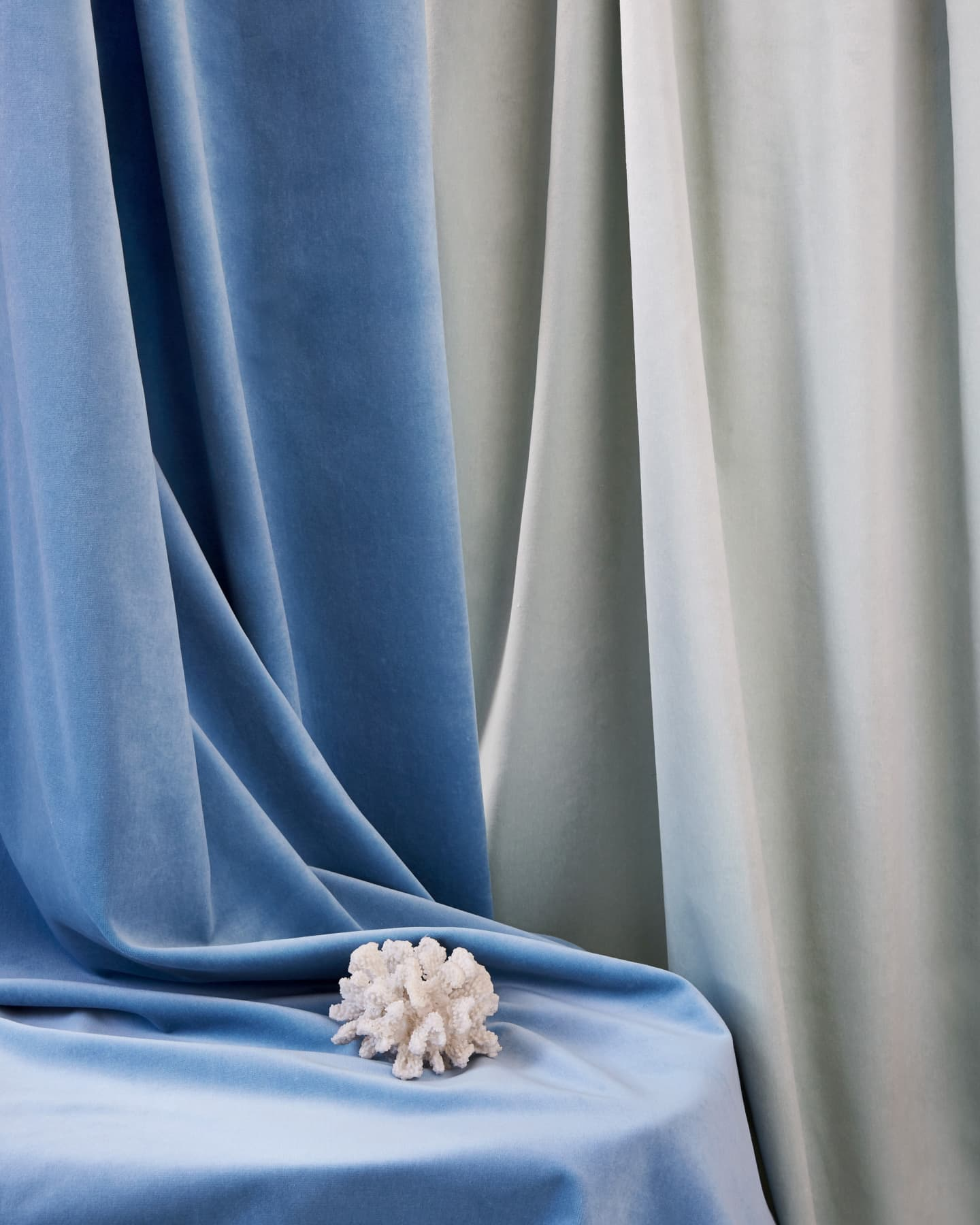 blue and grey velvet curtains