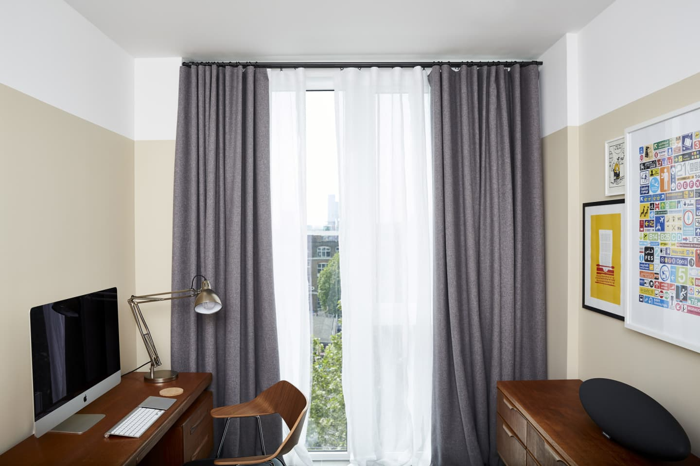 Grey and white linen curtains in study room