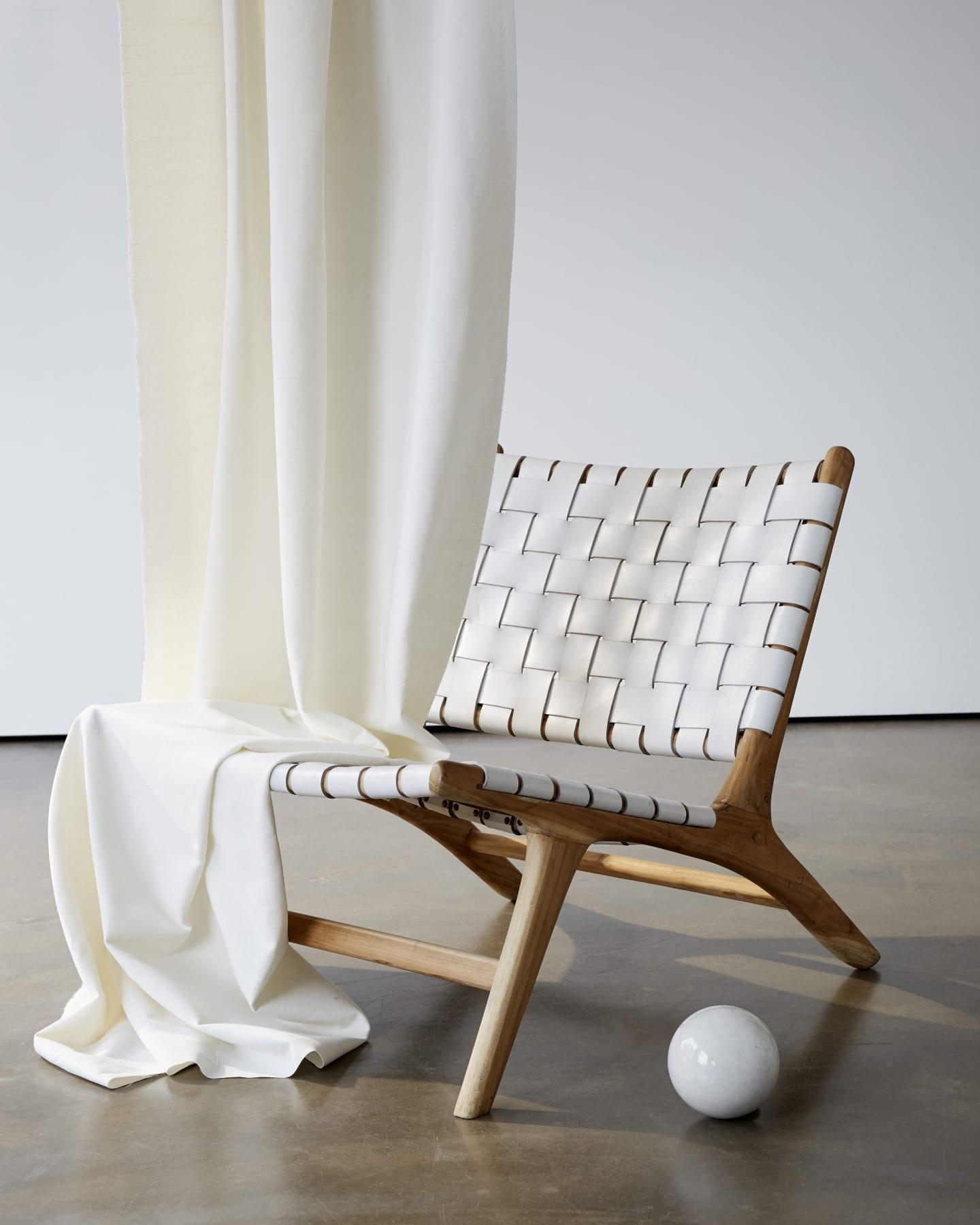shell curtain on a chair