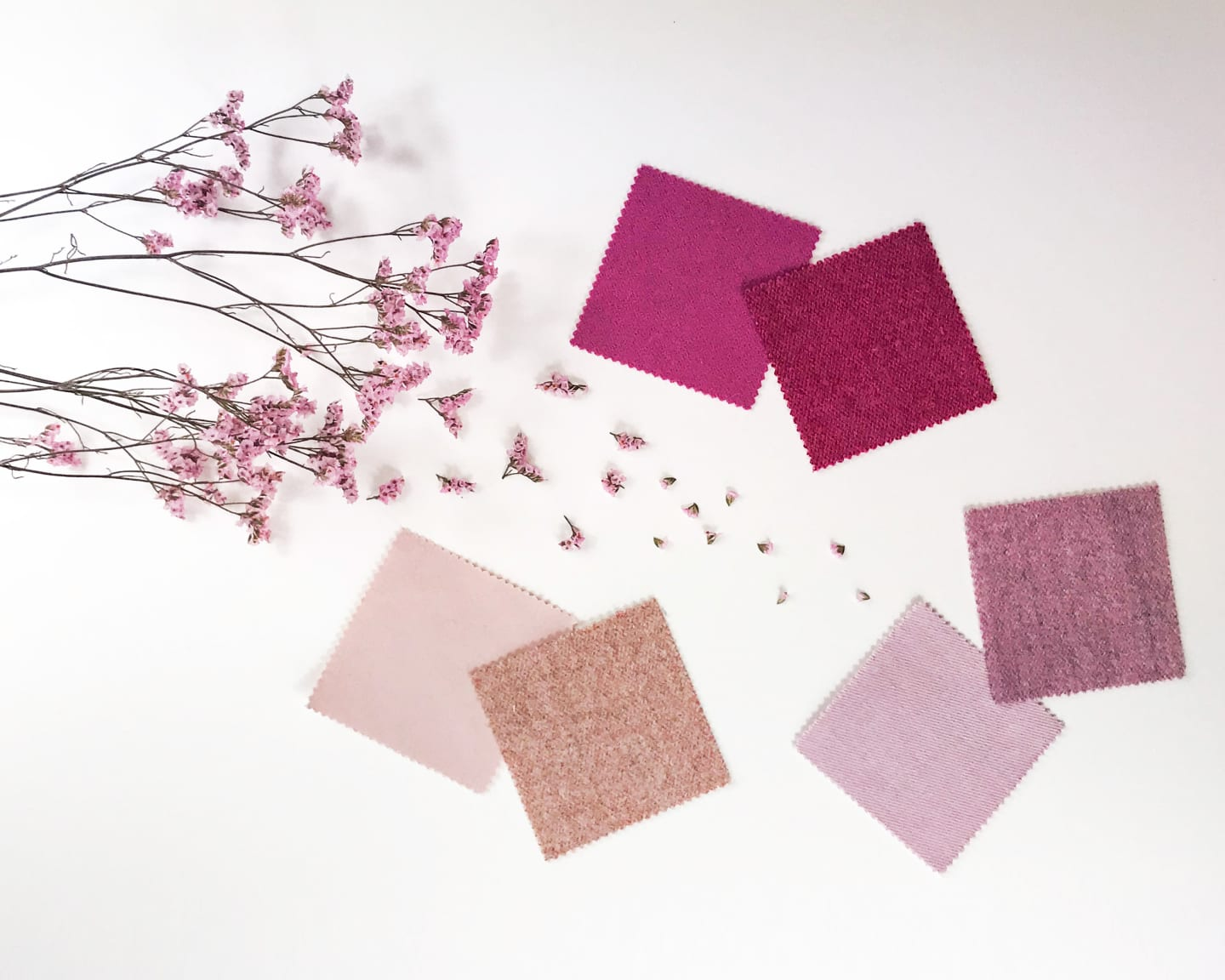 Pink fabric samples with pink flowers