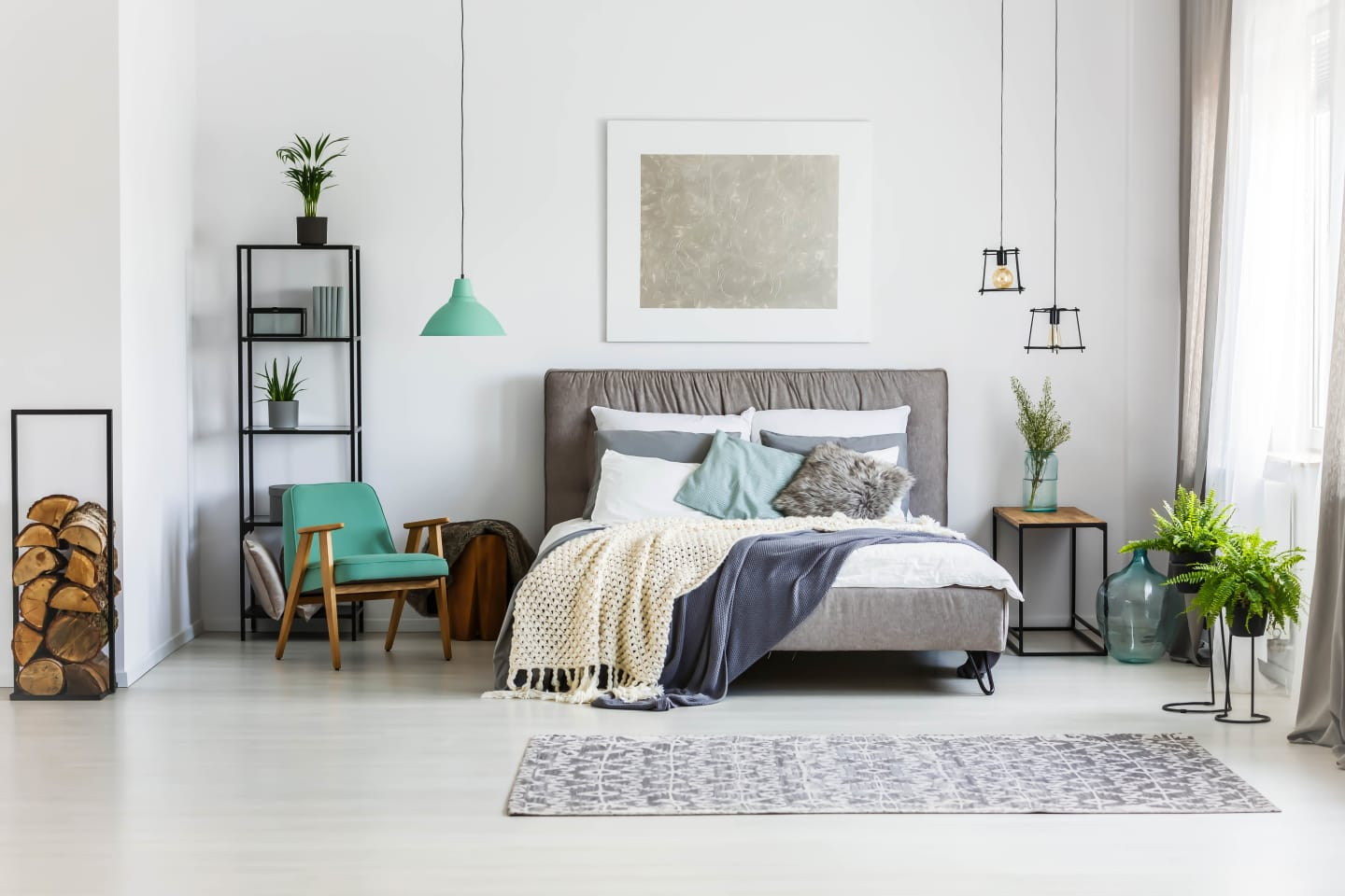 Monochrome schemed bedroom with a hint of mint