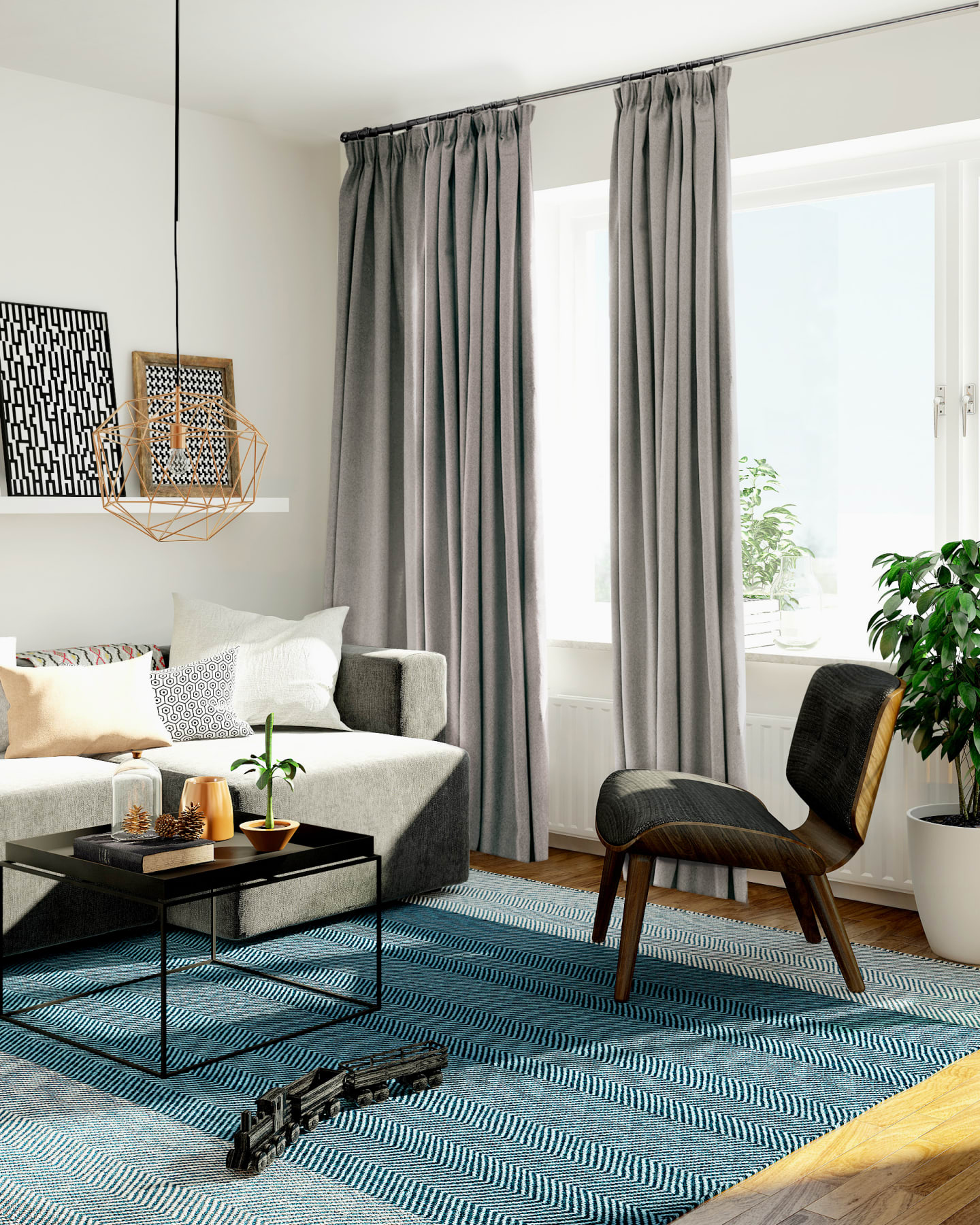 neutral interior decor with accompanying curtains
