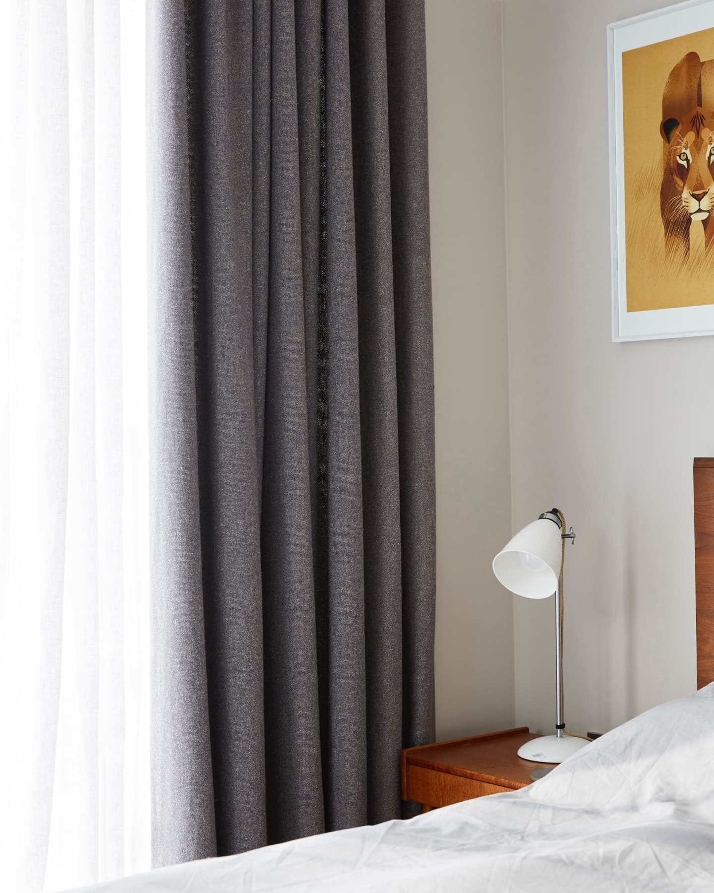 Close up of ash coloured curtains