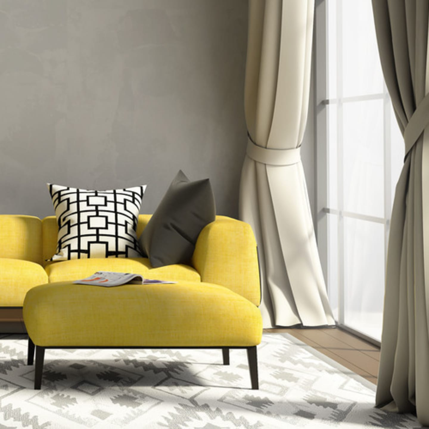 Bright yellow sofa in a neutral colour schemed living room
