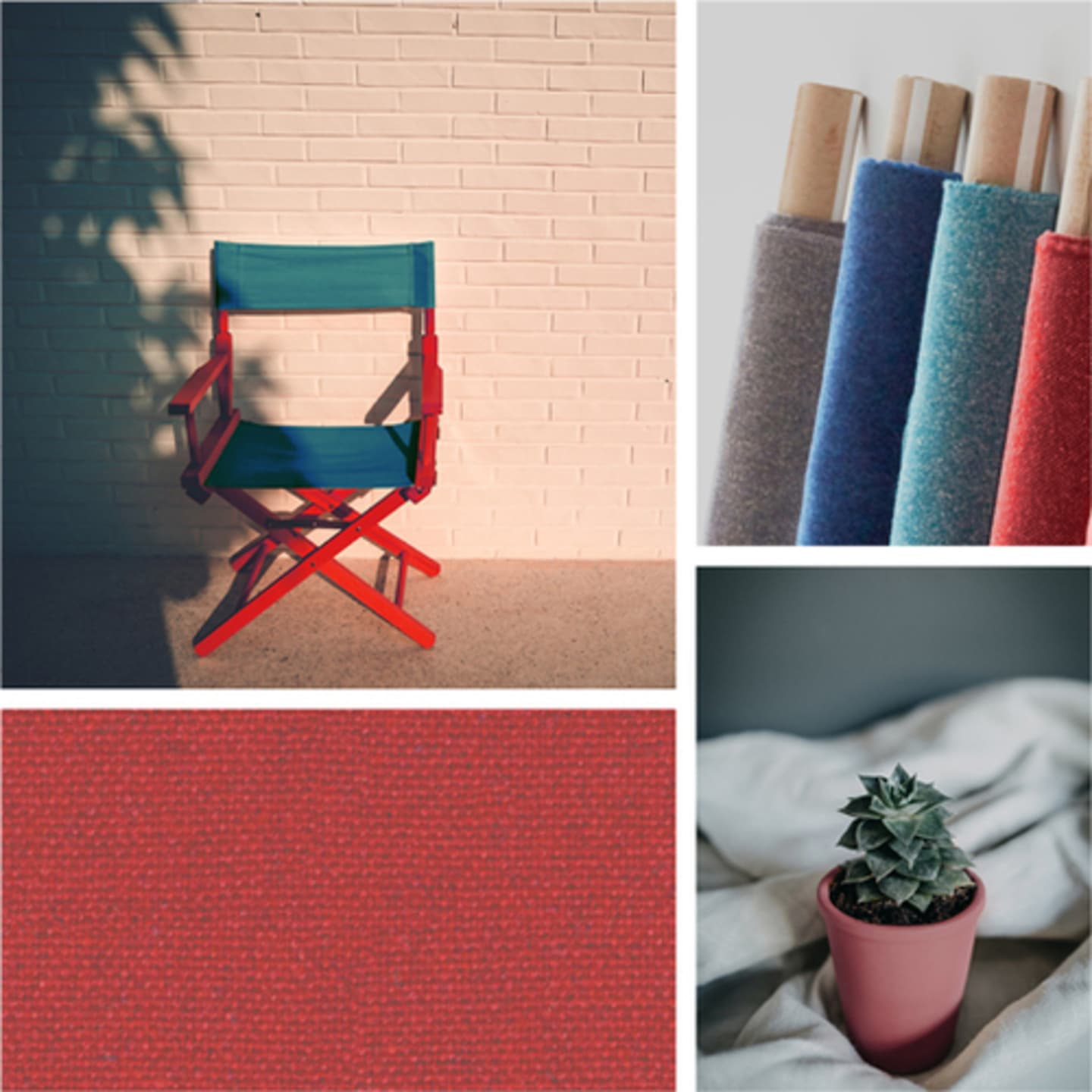 Red fabric collage