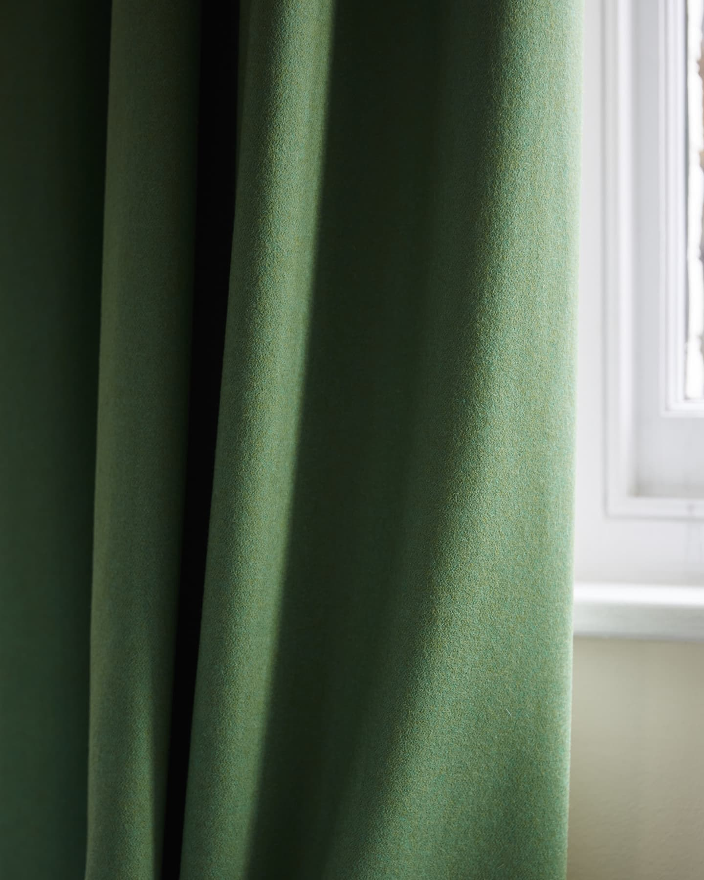 close up green wool curtain