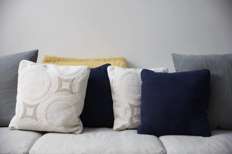 an assortment of cushions