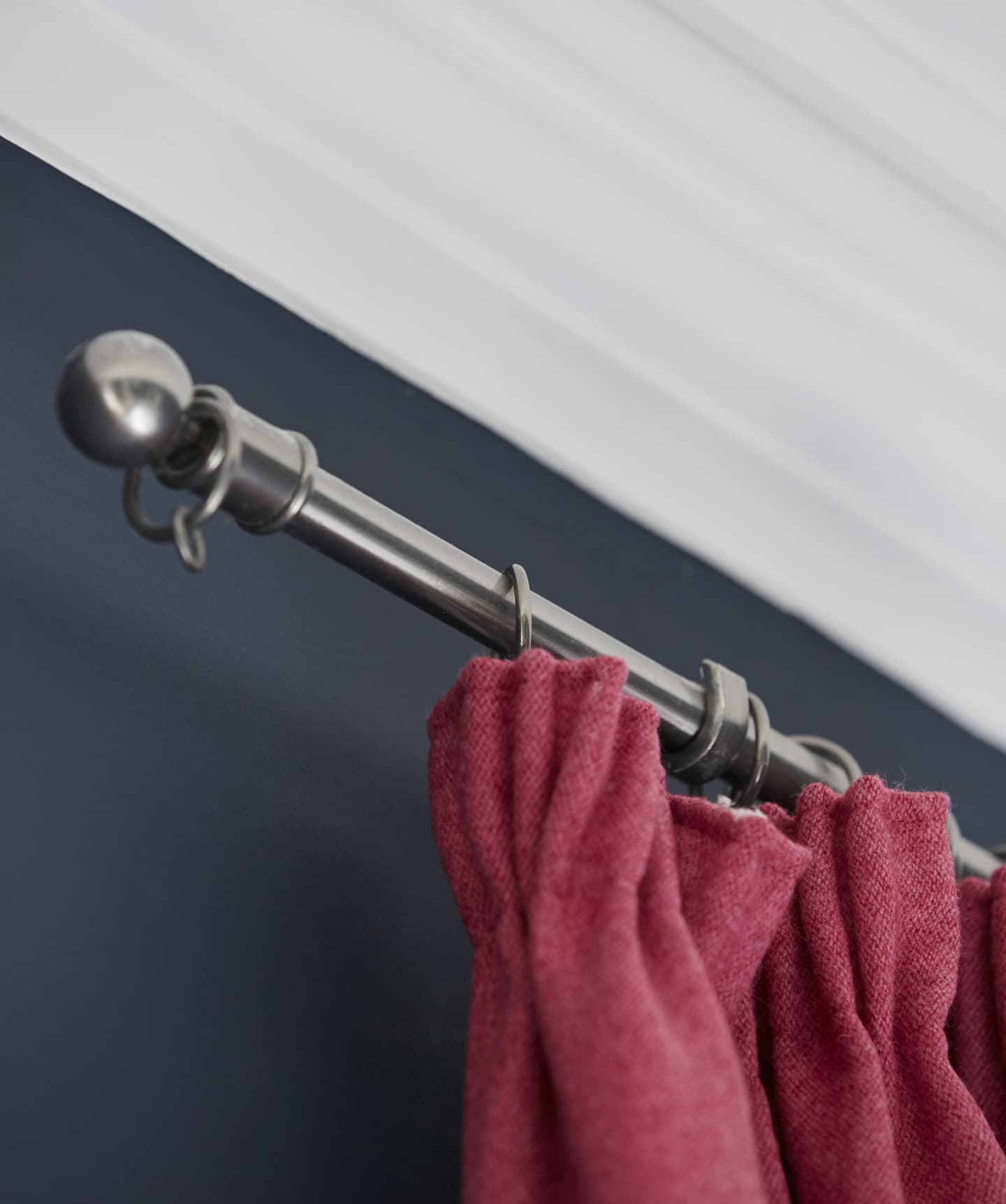 close up of curtain on a curtain rail