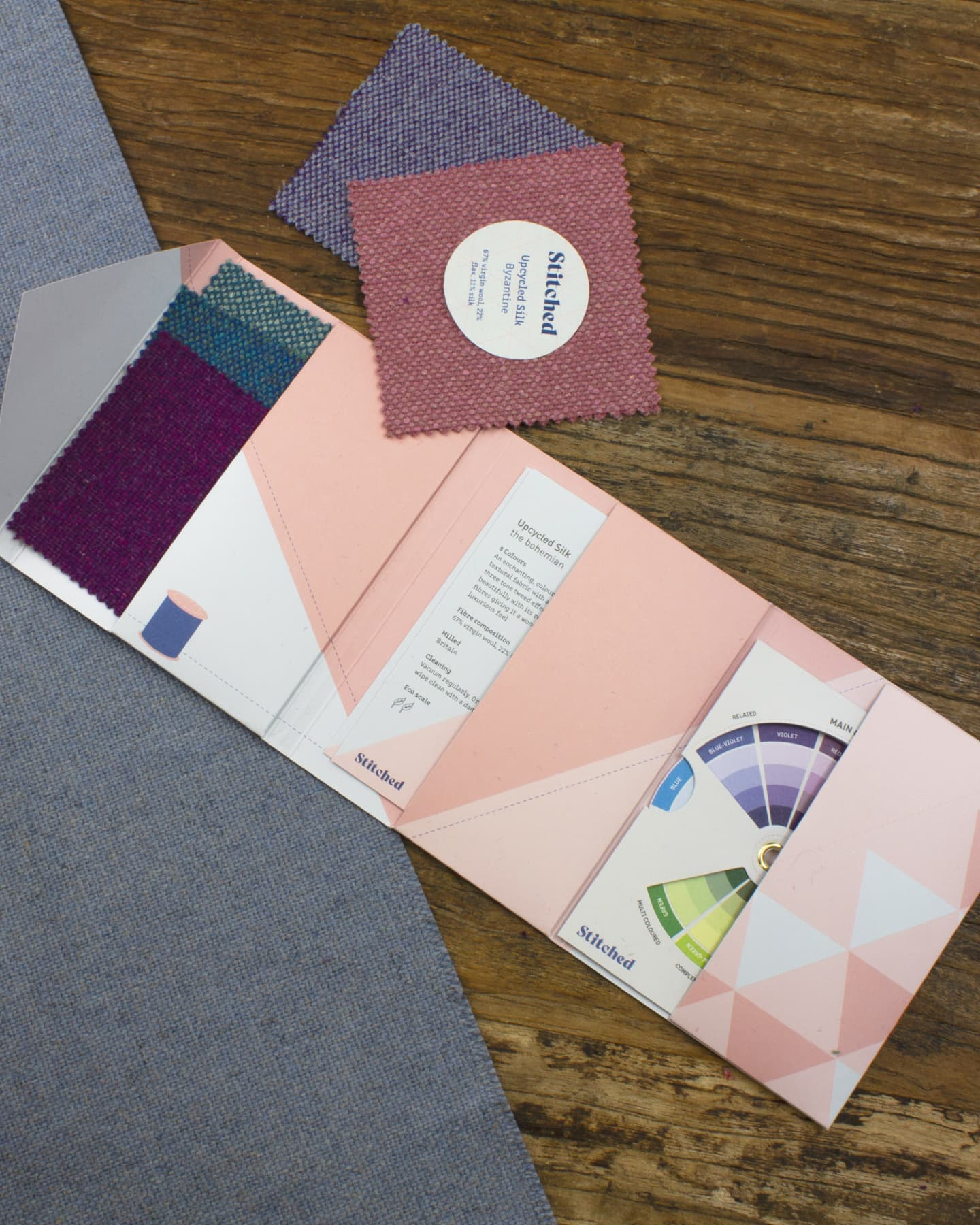 Stitched sample pack, lay down on the table