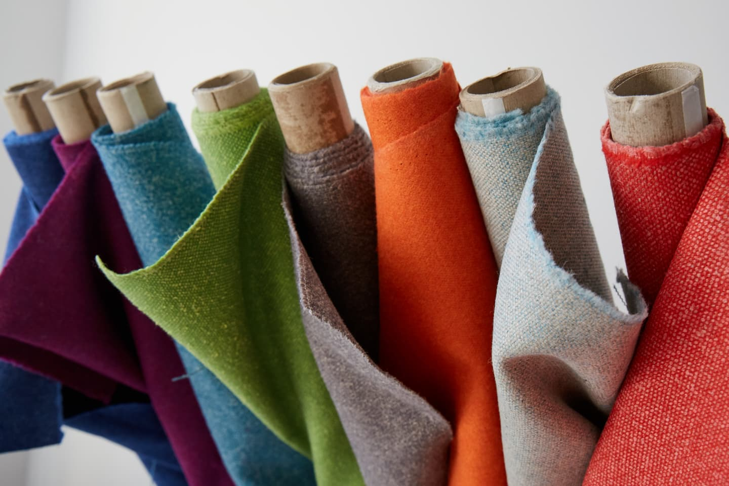 Multi coloured fabric rolls