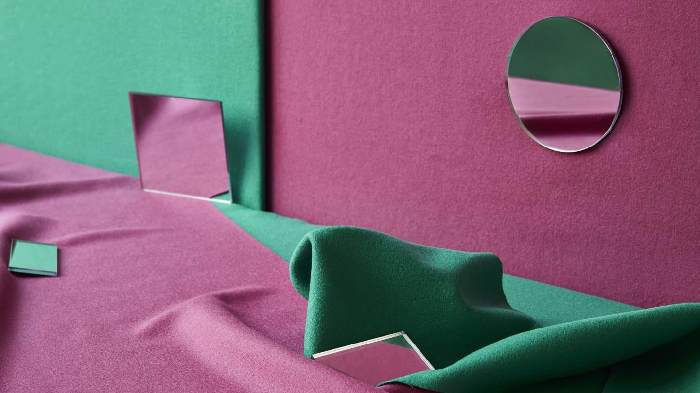 bright green and pink woollen fabrics