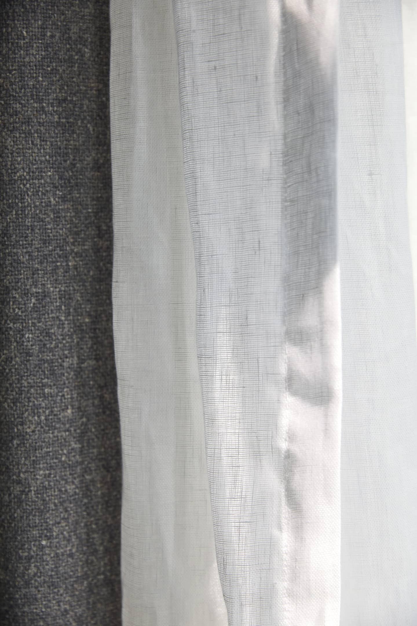 close up of grey curtain stitching