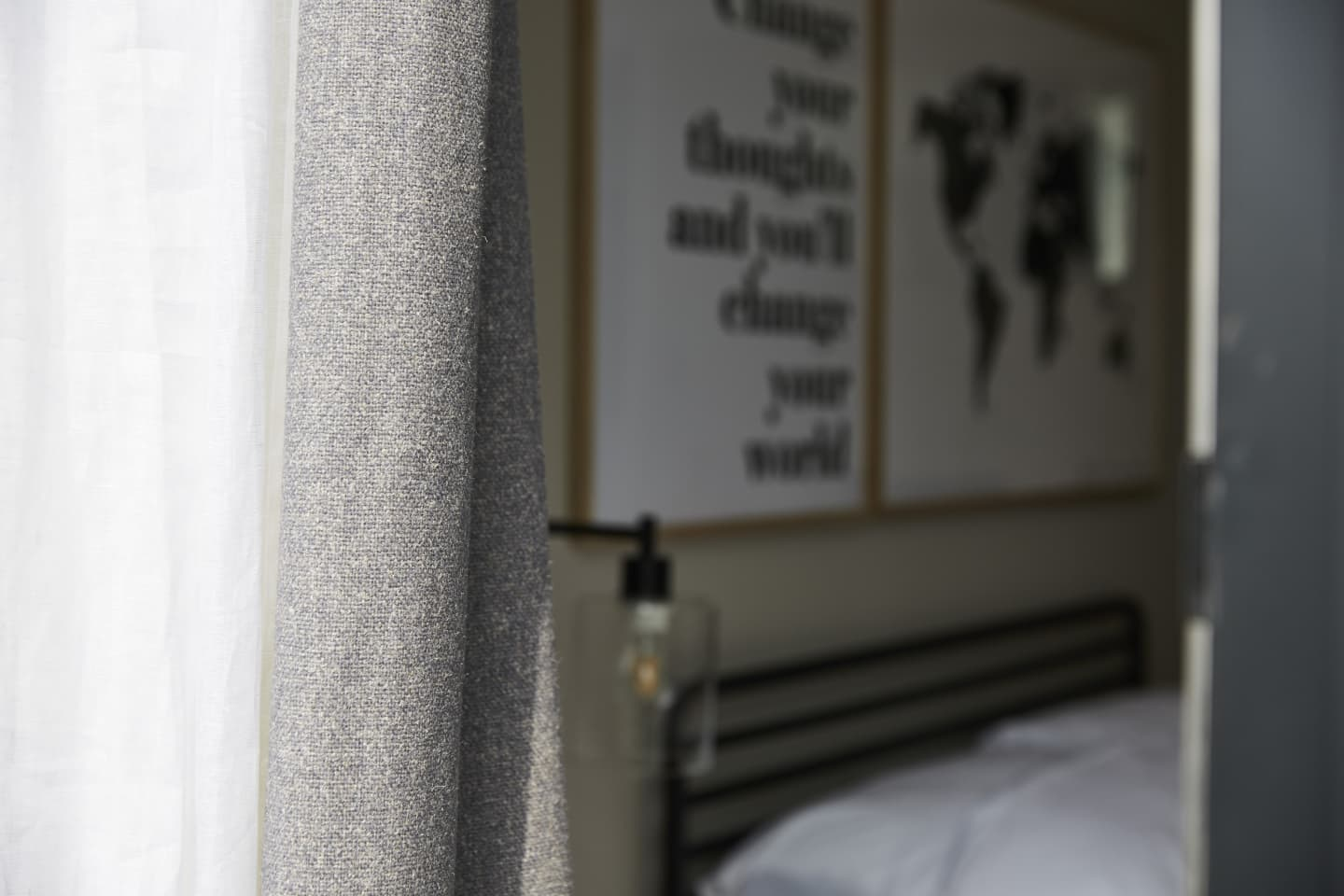 close up of neutral grey curtain