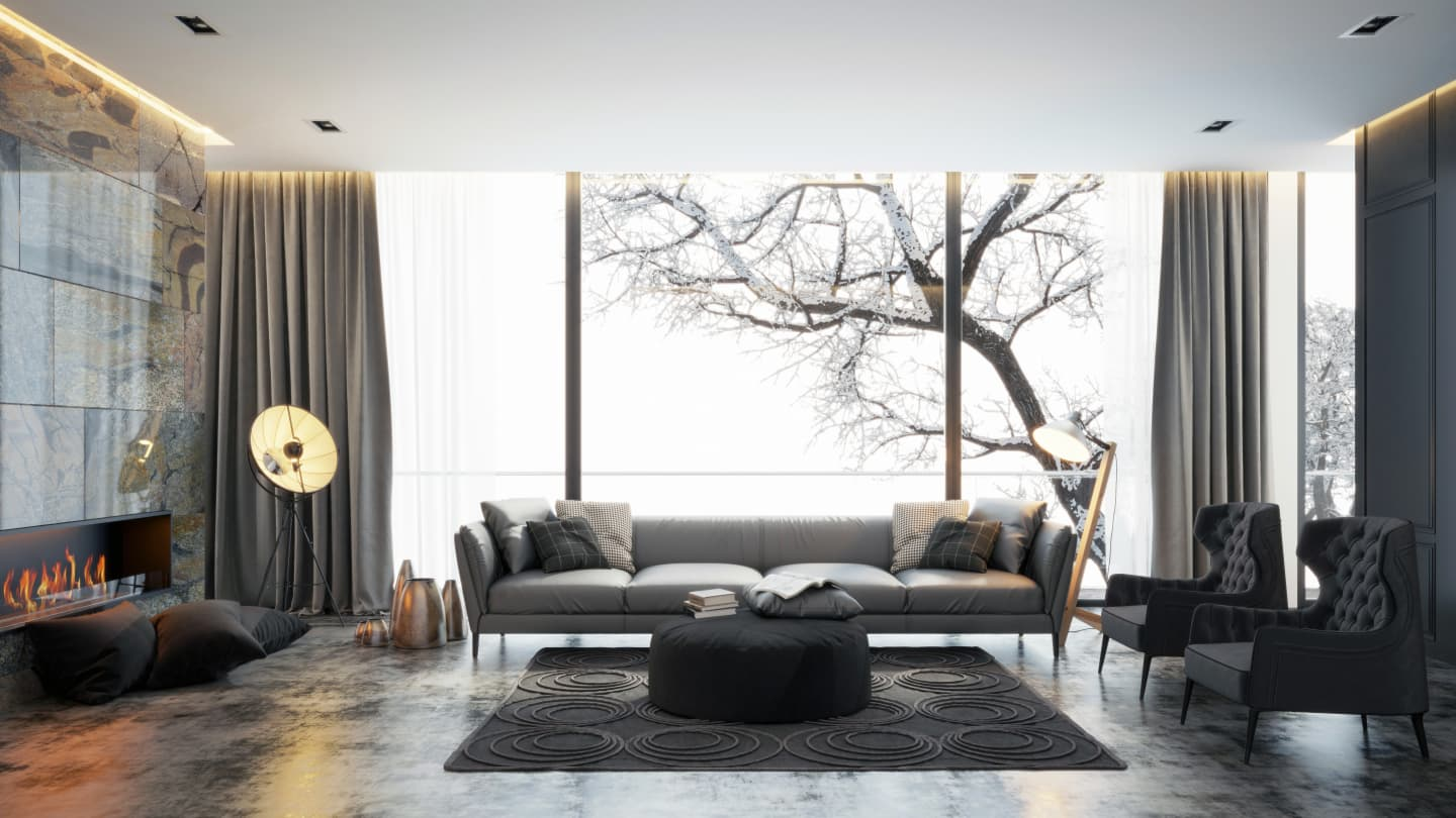 Modern interior with polished metal features