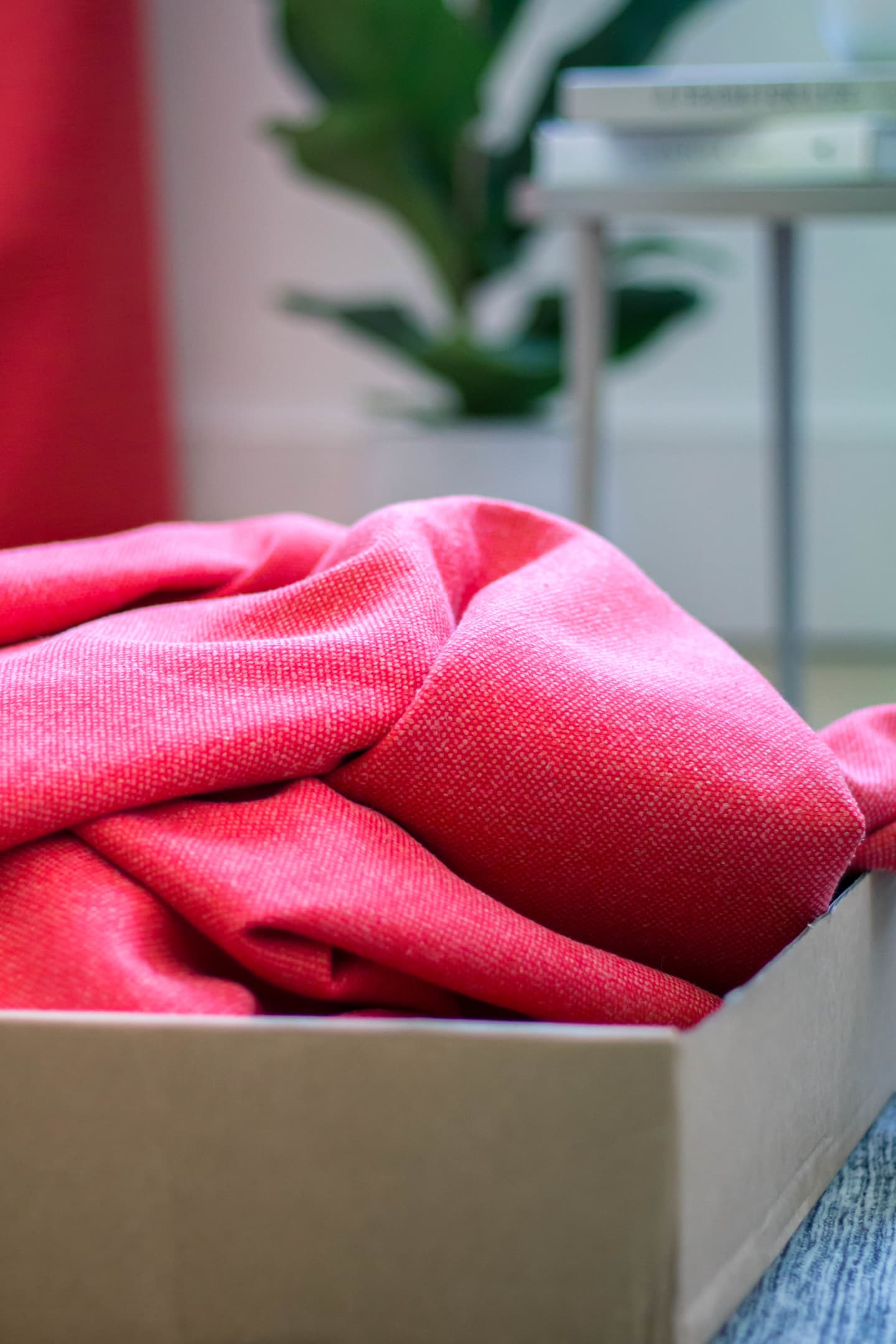 Close up of pink curtain in a box