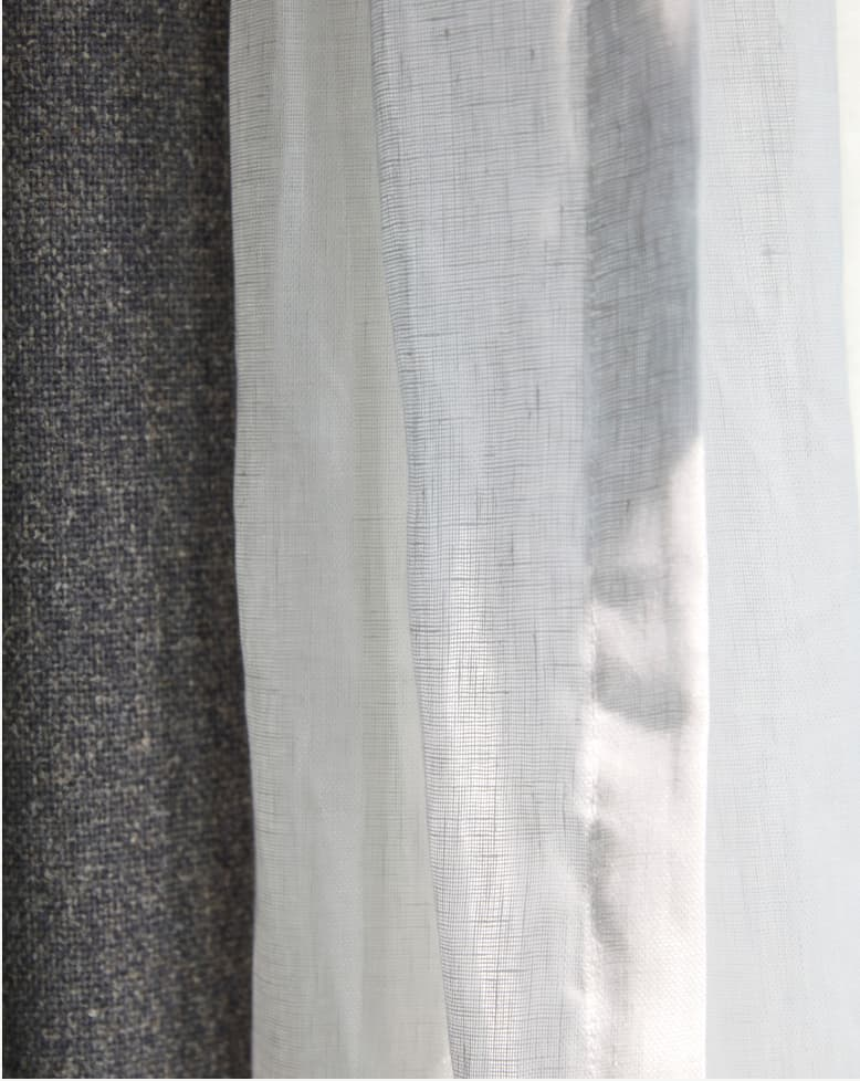 Close up of White linen curtains