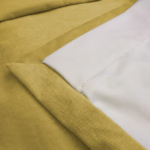 close up of yellow cotton curtain
