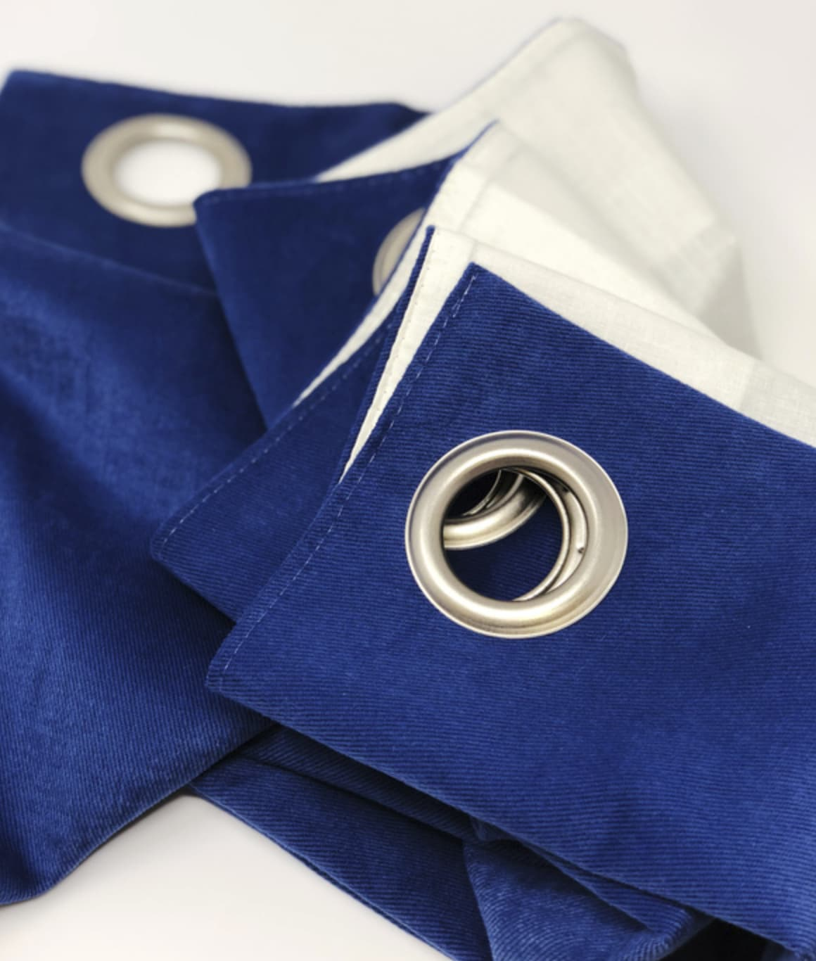 Navy blue eyelet curtains