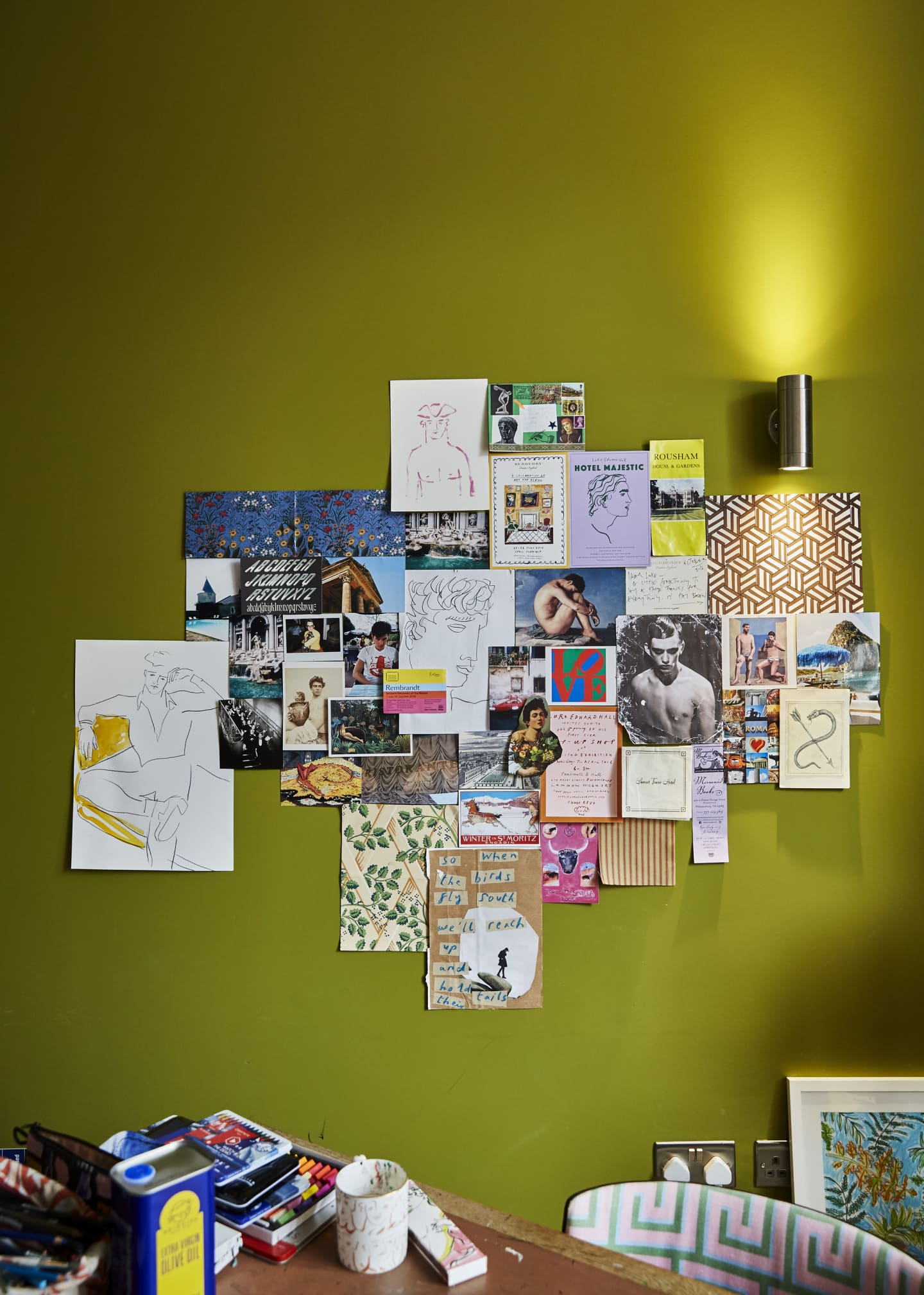 wall collage of artwork