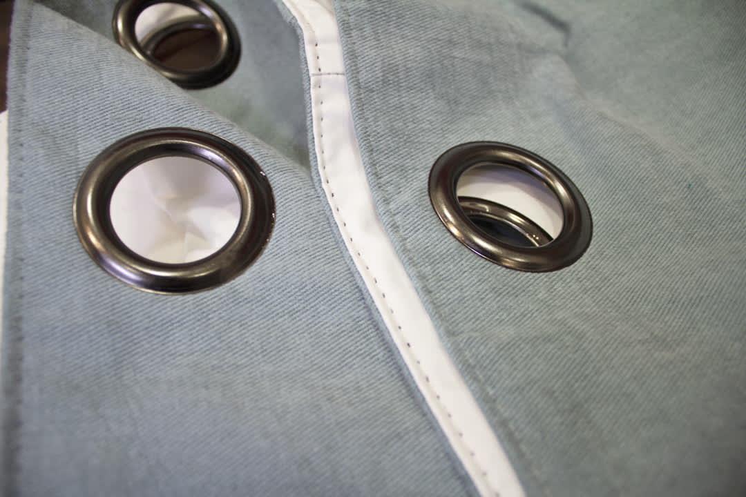 sea blue eyelet curtains