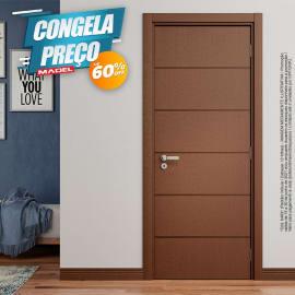 Porta Frisada Pronta de Madeira Sarrafeada Innovazione Padrão Imbuia-210 x 62
