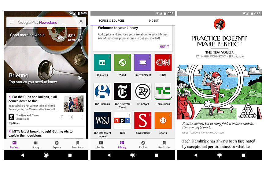Google Play newsstand apps