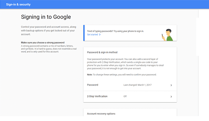 signing in to google