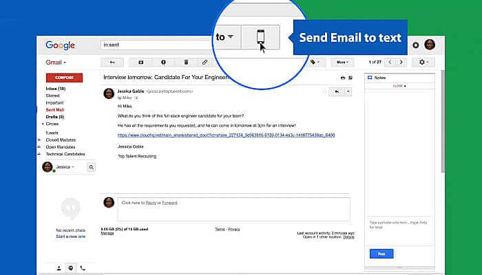 send sms via gmail