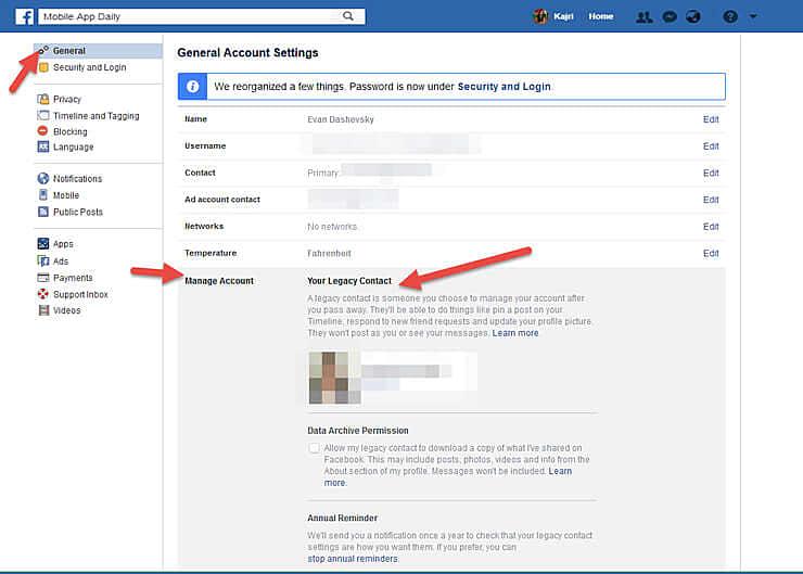 Facebook caretaker