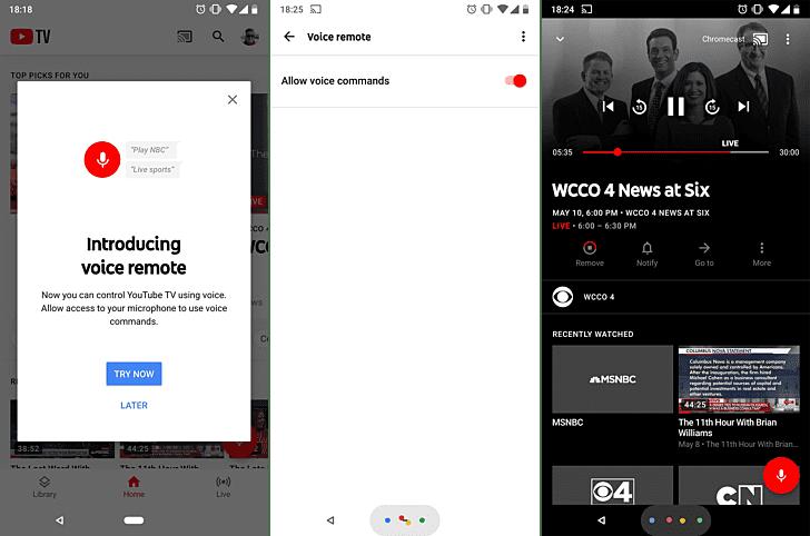 YouTube voice remote