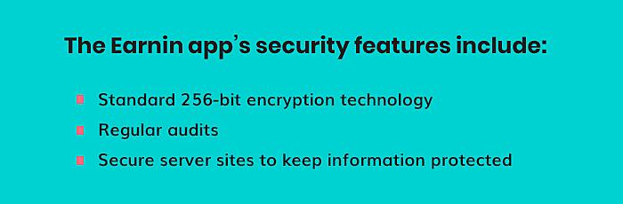 Earnin app's security features