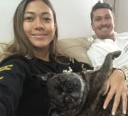 Loving Couple and Miss Piggy the pug x boston terrier