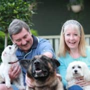 Happy pets cared for in their own home while house sitting for your home security.