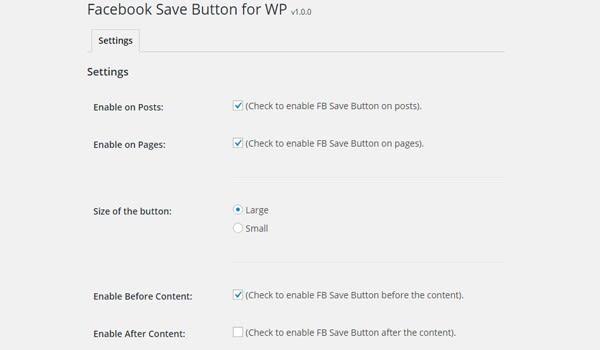 FB Save Button WordPress Plugin