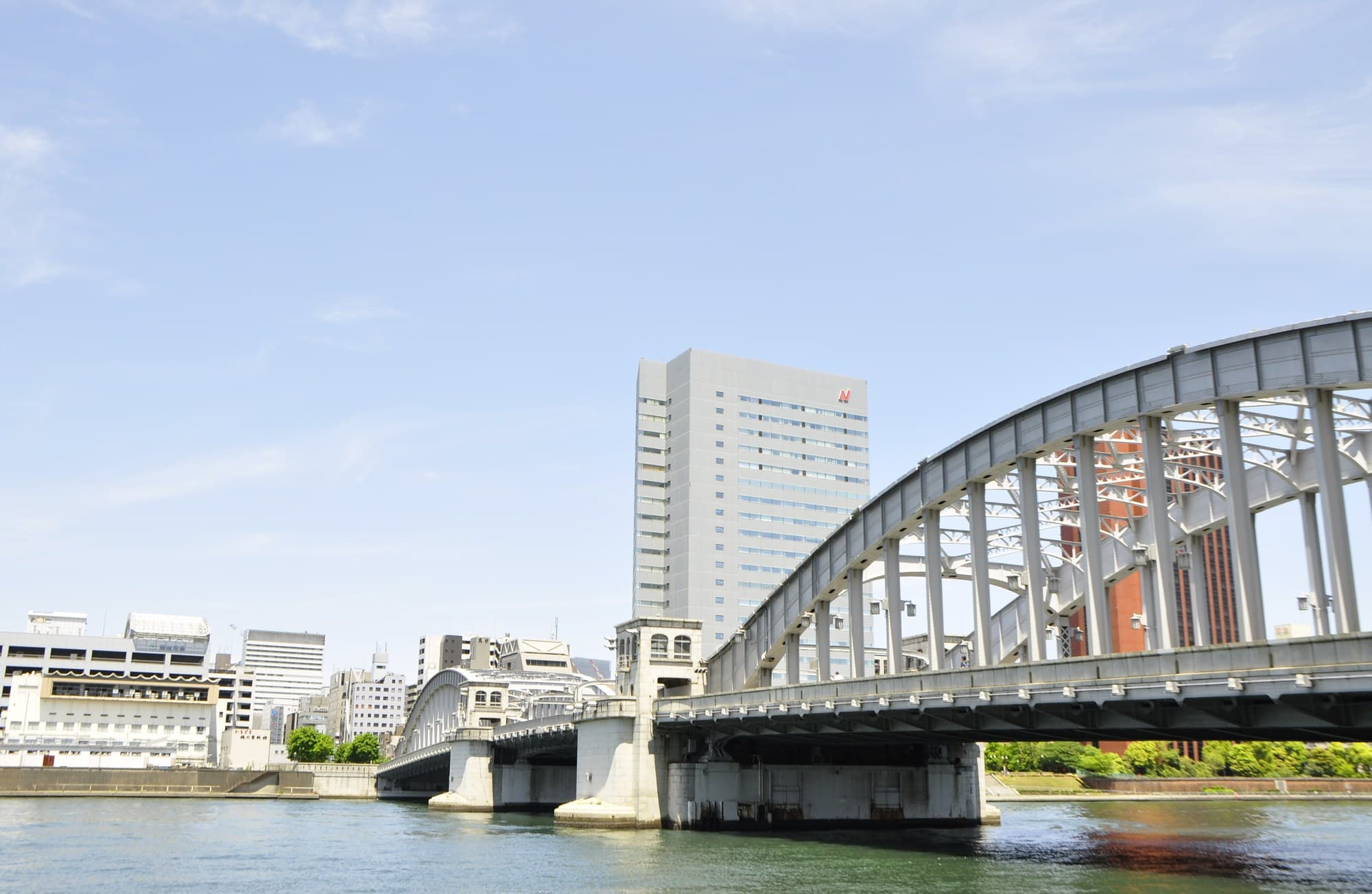 Kachidoki-Bashi Bridge over Sumida River Is Illuminated at Night