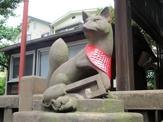 Foxe statues are everywhere in the Shrine.