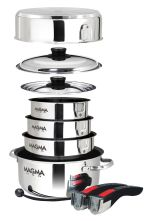 Magma Products A10-366-2 Gourmet Nesting Stainless Steel Cookware Set 10 Piece Ceramica Non-Stick