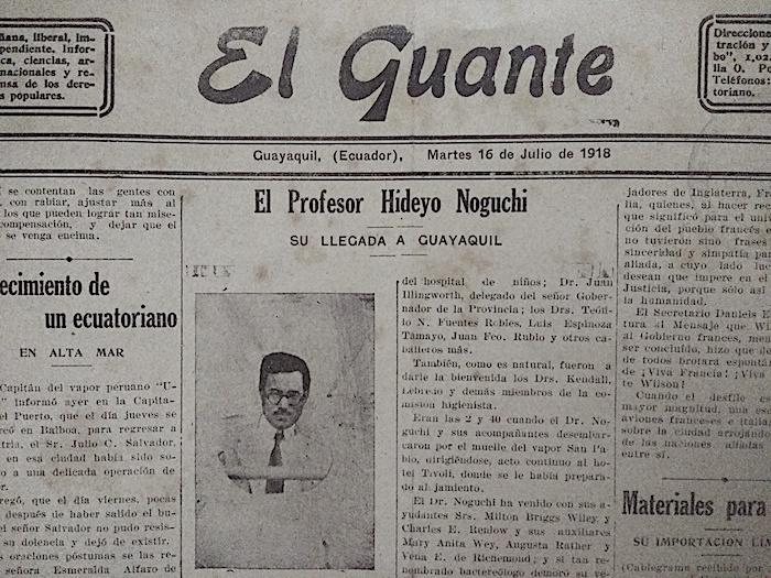 Fotografía de El profesor Hideyo Noguchi. Su llegada  a Guayaquil