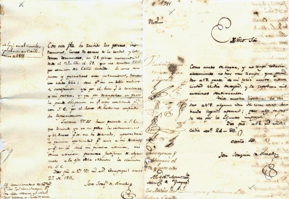 Informe gestiones de Olmedo, viaje en comisión a Cádiz