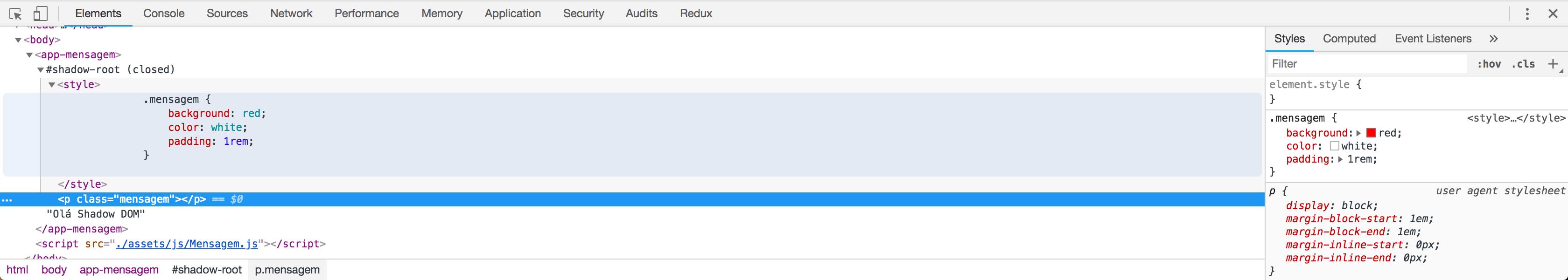 DOM do componente sem texto