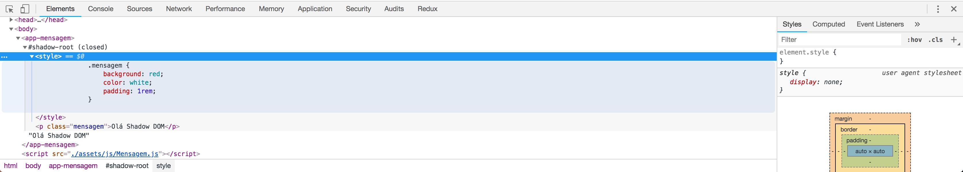 DOM renderizado com texto
