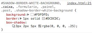 Exemplo do inspector do navegador utilizando o DRY