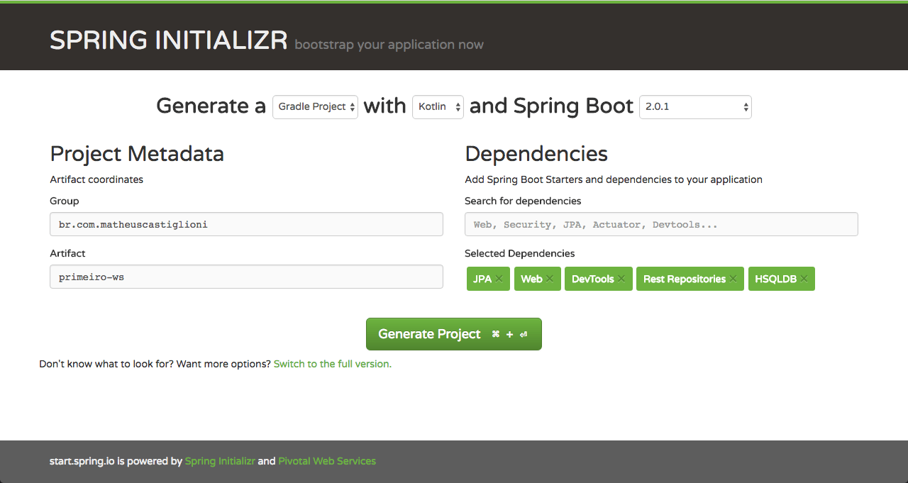 Spring Initializr exemplo